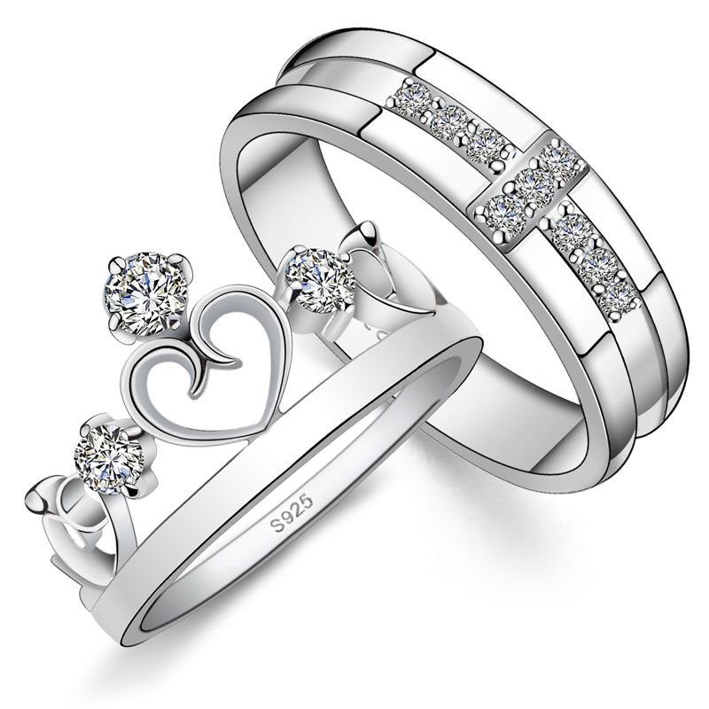 His Hers Crown Cubic Zirconia 925 Silver Couple Engagement Rings