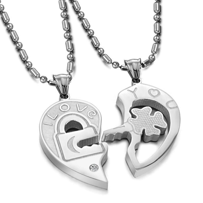 aade8c55a9 Love Heart Stainless Steel Matching Couple Pendant Necklaces Set ...