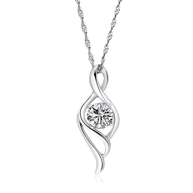 Angels wing womens 925 silver pendant with water wave chain yoyoon angels wing womens 925 silver pendant with water wave chain aloadofball Choice Image