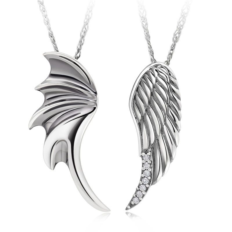 Angel wings 925 sterling silver couple pendant necklaces matching angel wings 925 sterling silver couple pendant necklaces matching set mozeypictures Image collections