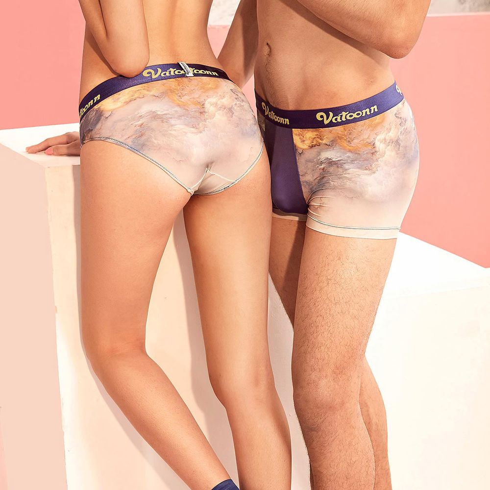 8c52e5ede62e Silk Matching Couples Underwear Set Shorts for Men and Lady-Blue | Yoyoon
