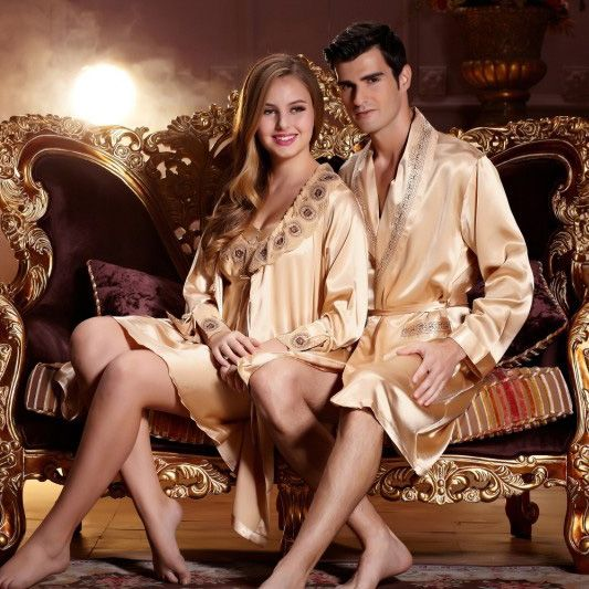 His And Hers Matching Christmas Pajamas: His & Hers Matching Couples Luxury Silk Robe Sets