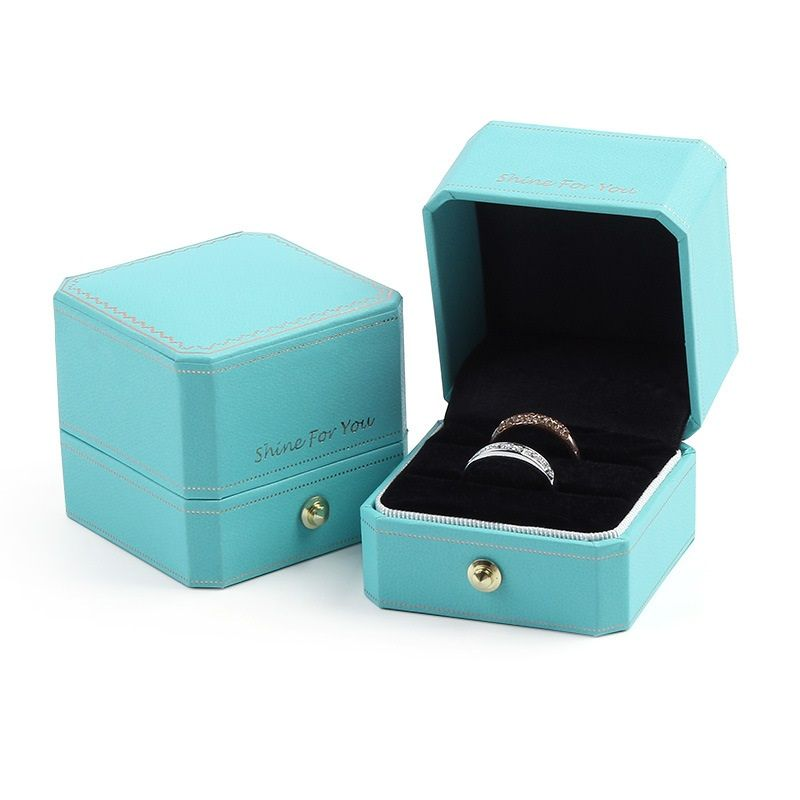 Jewelry Gift Boxes Ring Box Pendant Box Gift Bag Sky Blue Textured Cardboard Velvet Gold Trim