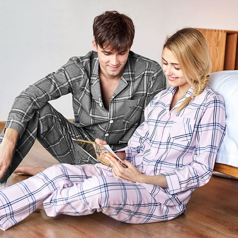 7274fd6fae Winter 100% Cotton Plaid Boyfriend Matching Couples Pajamas for Men and Lady