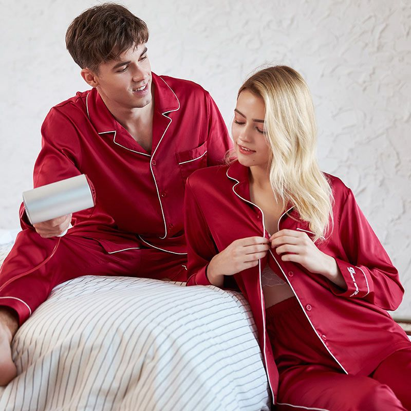 cd89fdaf1d23 Thin Silk Long Sleeve Matching Couples Pajamas Sleepwear for Spring Summer