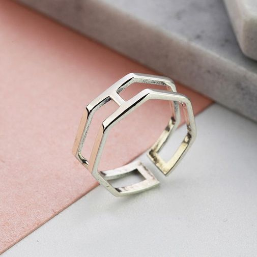 Geometric Double Row Finger Ring