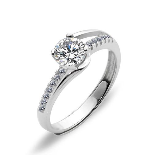 Bypass Diamond Eternity Silver Engagement Rings