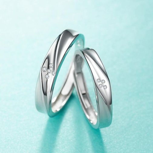 Concave Twisting Promise Matching Rings in Sterling Silver