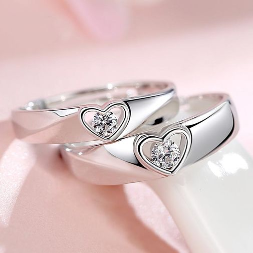 Solitaire Diamond in Heart Adjustable Wedding Rings