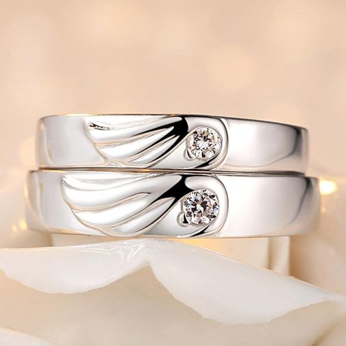 Angel Wings Silver Matching Engagement Rings