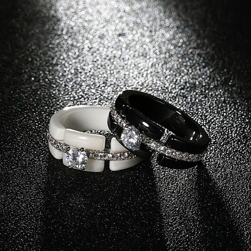 Diamond Accent Wide Band Ceramic Ring