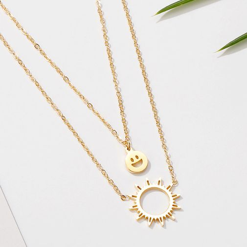 Double Layers Smiley Emoji Sun Tag Necklace