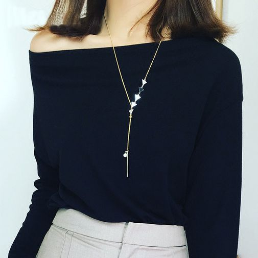 Triangles Bar Pearl Lariat Necklace