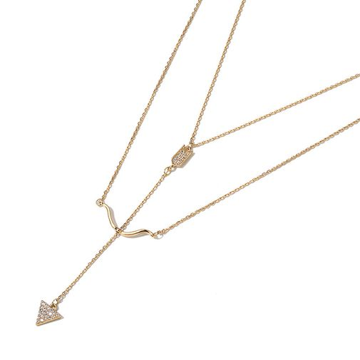 Two Layers Bow and arrow Necklace