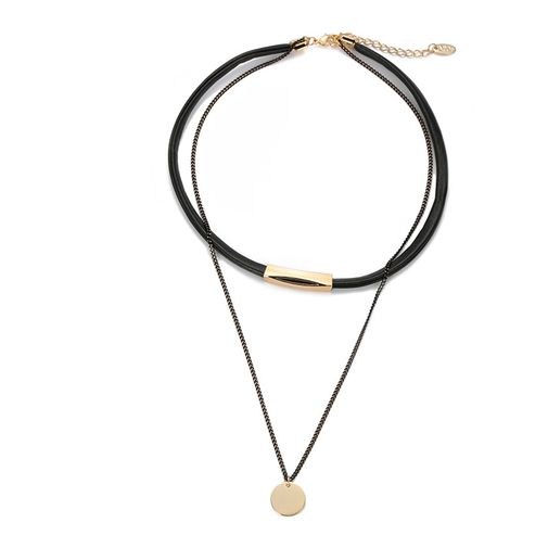 Double Layered Disc Tag Choker