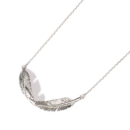 Sterling Silver Feather Charm Necklace
