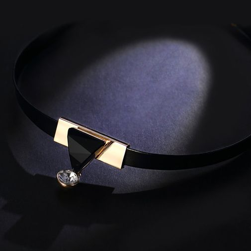 Leather Choker with Black Irregularly Cut Triangle Stone