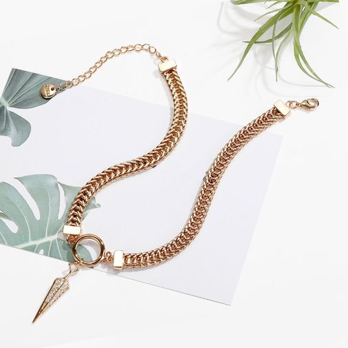 'Hollow Spike with Diamonds' Choker Necklace