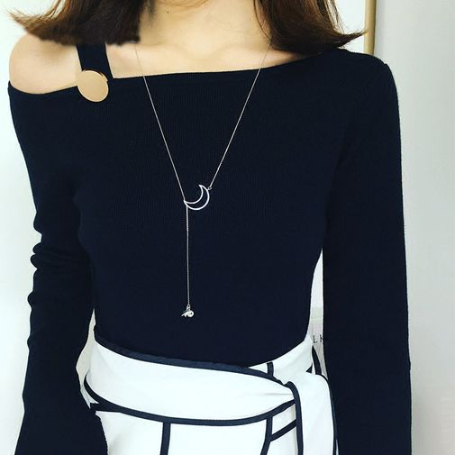 'Moon and Star' Lariat Necklace