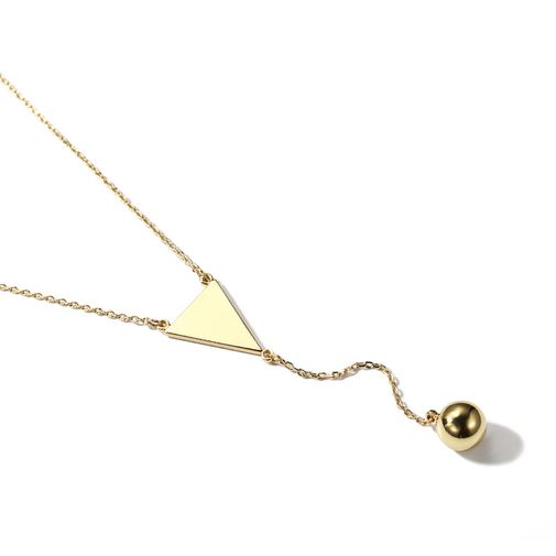 Gold Tone Triangle Tag Metal Ball Lariat Necklace