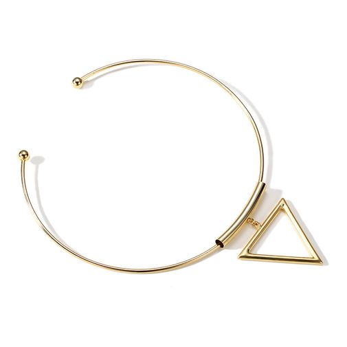 Gold Tone Tiny Tube Triangle Open Collar Necklace
