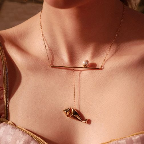 Pearl on Tiny Stick Charm Fish Lariat Necklace