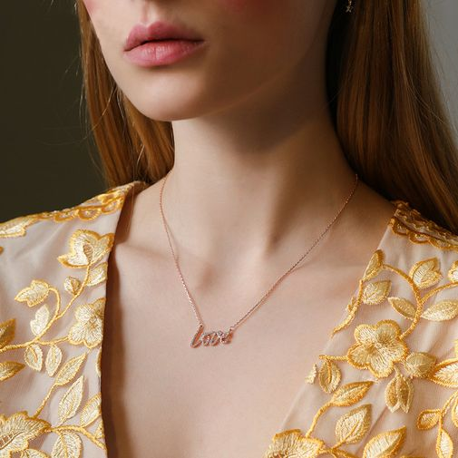Diamond Paved 'LOVE' Letters Pendant Necklace