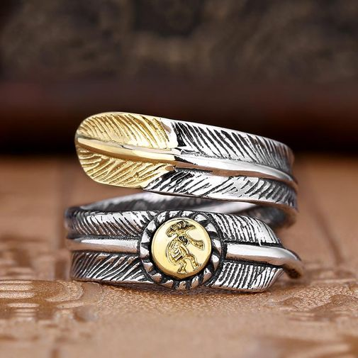 Silver Feather Matching Ring for Man and Woman