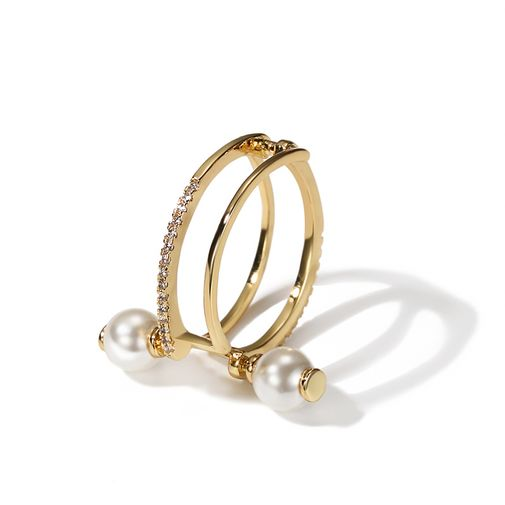 Pearls Stud Double Row Finger Ring