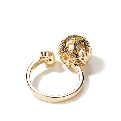 'Ball Hollowed with Pearl' Size Adjustable Open Ring