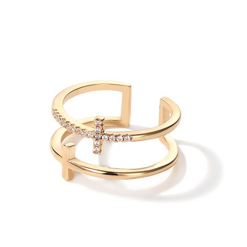 Two Cross Double Band Ring
