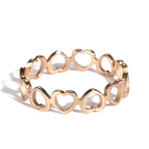 5mm Band Tiny Hearts Linked Finger Ring