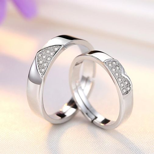 Cluster Diamonds Paved Heart Wedding Ring Set