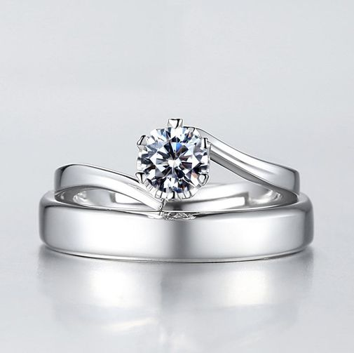 Bypass Wedding Band Rings in Sterling Silver