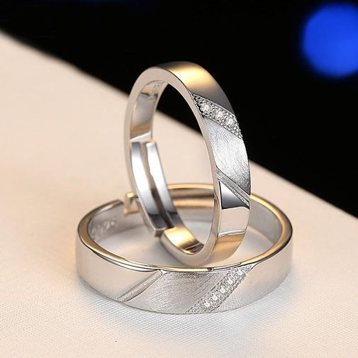 Silver Striped Matching Engagement Rings