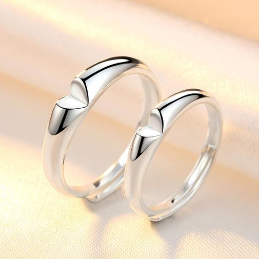 V Cut Matching Wedding Rings with White Gold Plated