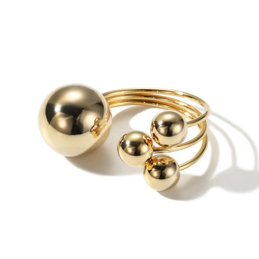 Triple Layers with Gold Tone Balls Open Ring