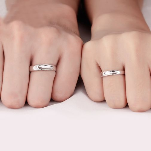 'Forever Love' Silver Couples Rings Size Adjustable
