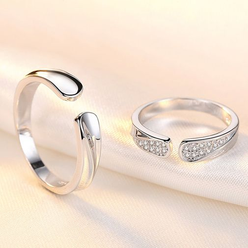 Simple Couples Rings Size Adjustable Open Rings