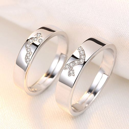 Couples Cupid Arrow Heart Rings in Silver