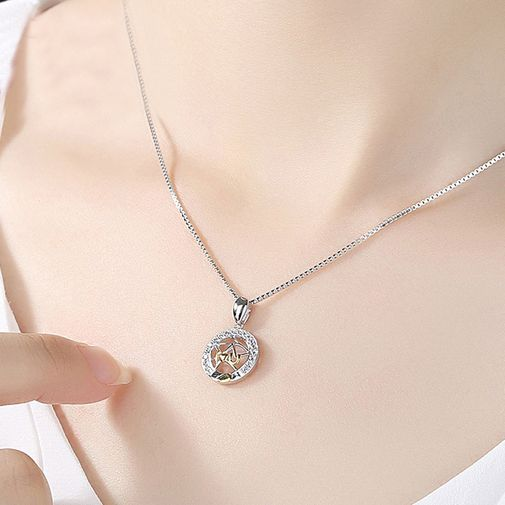 'I Love U' The Moon and Earth Matching Pentant Necklaces for Couple