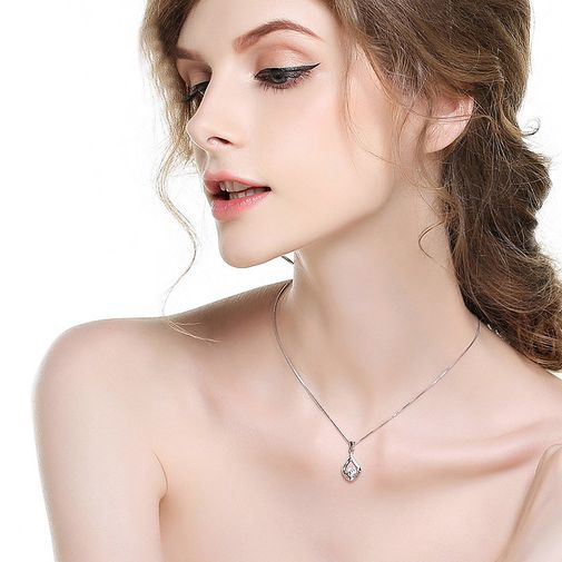 Diamond Pendant Necklace with Drop Shaped Frame