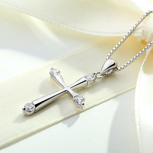 Women's Silver Cross necklace 4 Stone Setting