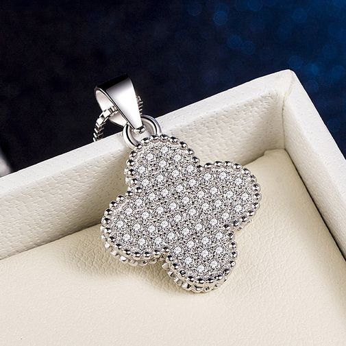 Silver 4-Leaf Clover Tag Pendant Sprinkled with Diamonds