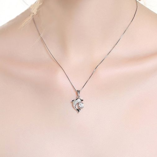 Dolphin Shape Pendant Necklace in White Gold Plated