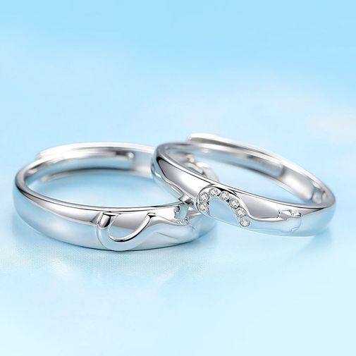 Love Keys Engraved Engagement Rings for Couples