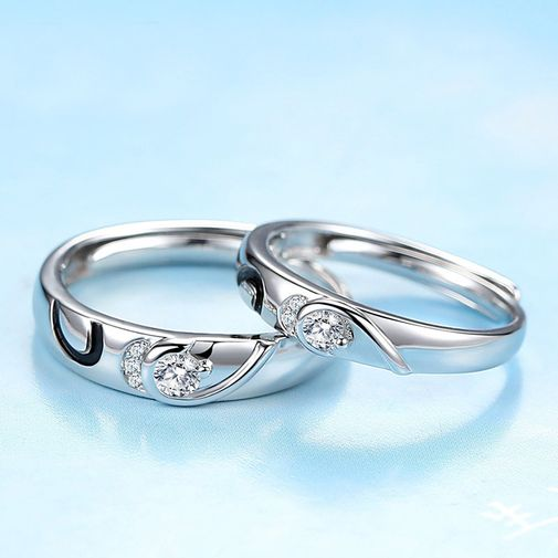 Hearts Silver Adjustable Matching Couples Rings