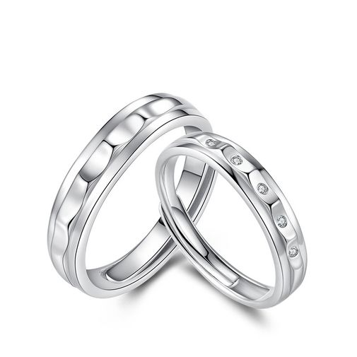Undulating Surface Engravable Promise Rings