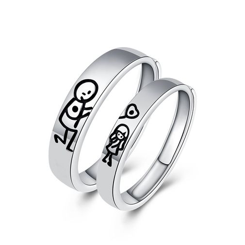 Sterling Silver 'Lovers Figure Drawing' Couples Rings