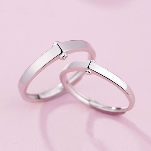 Silver Minimalist V-top Adjustable Couples Rings